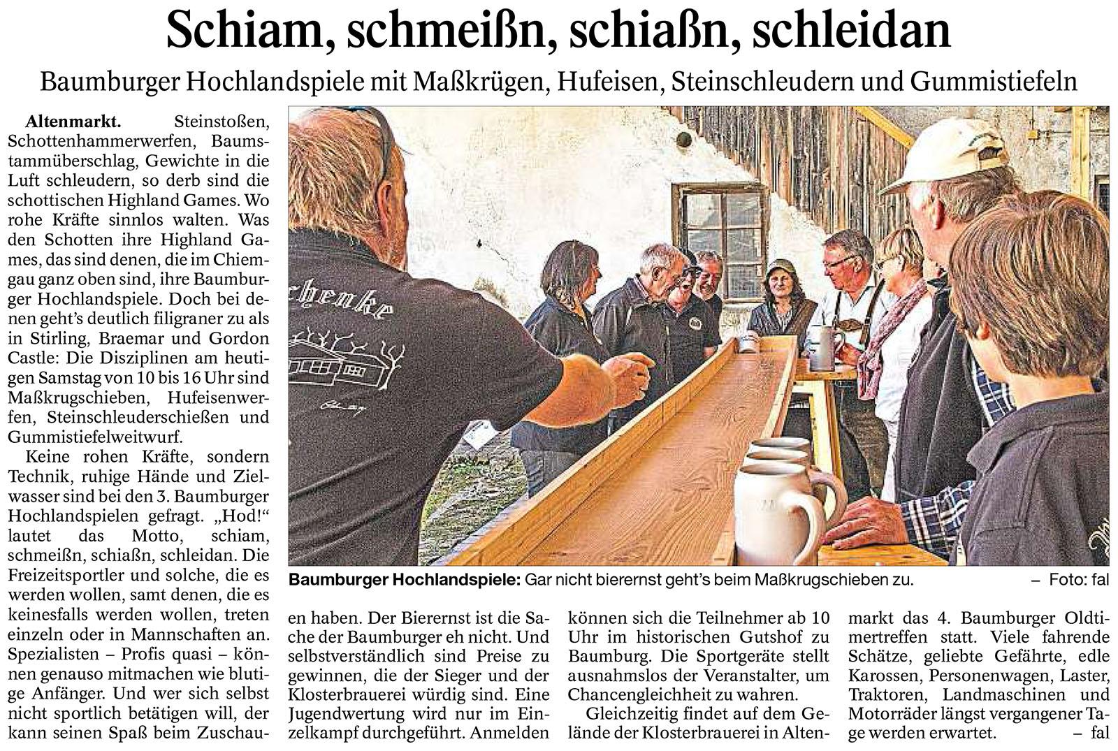 Ankündigung der Baumburger Hochlandspiele im Trostberger Tagblatt