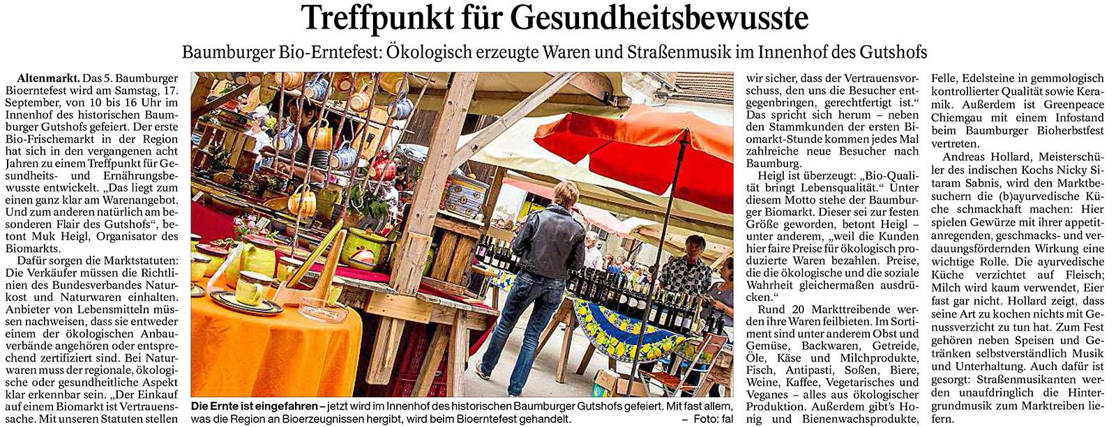 Bioerntefest-Ankündigung im Trostberger Tagblatt