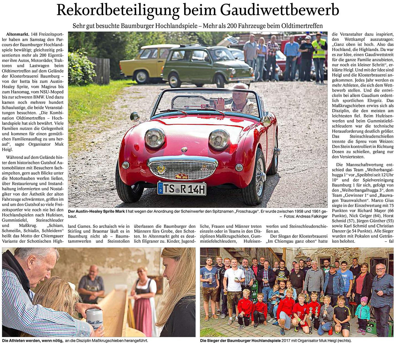 Bericht über die Hochlandspiele und das Oldtimertreffen im Trostberger Tagblatt.