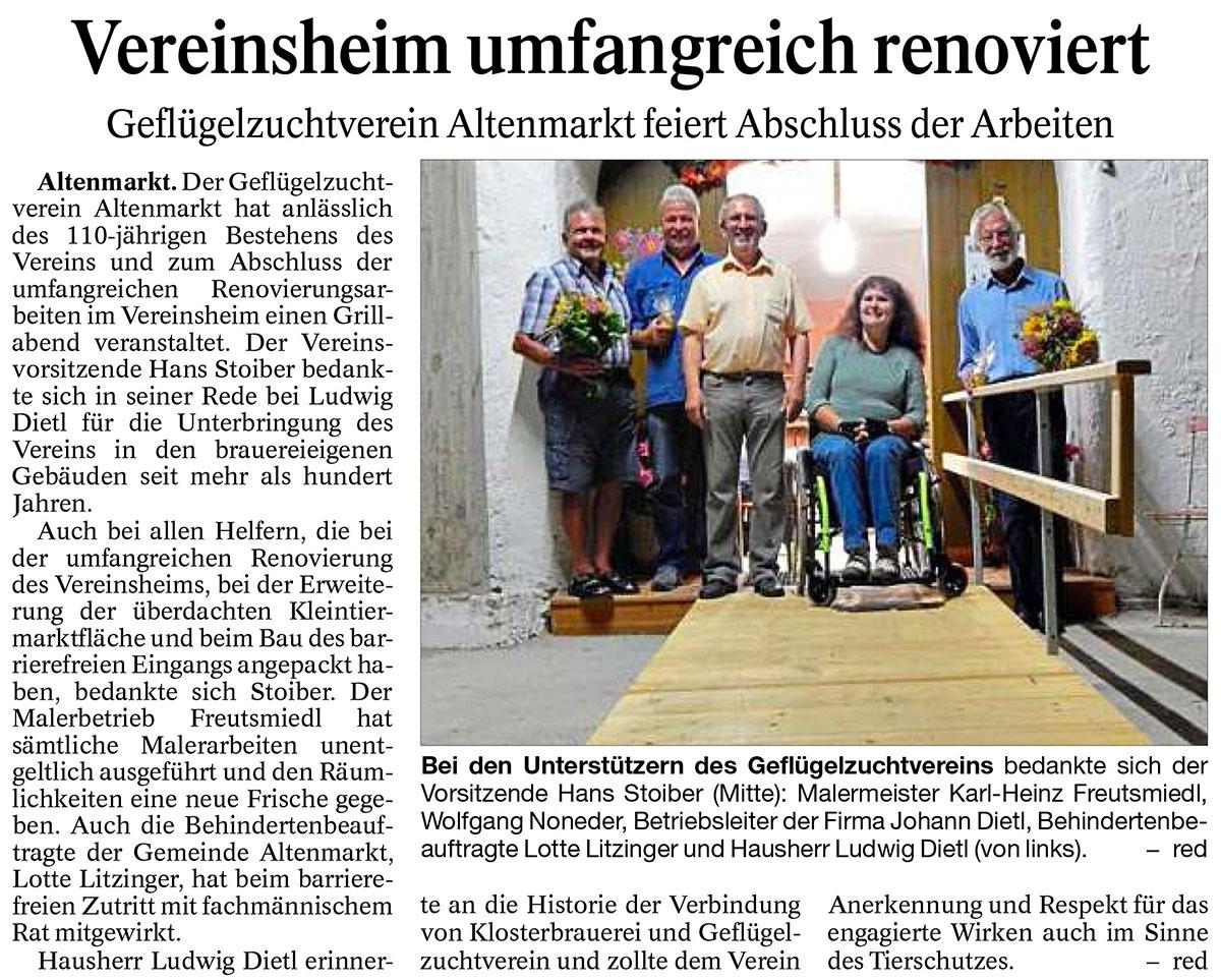 Vereinsheim der Geflügelzüchter renoviert