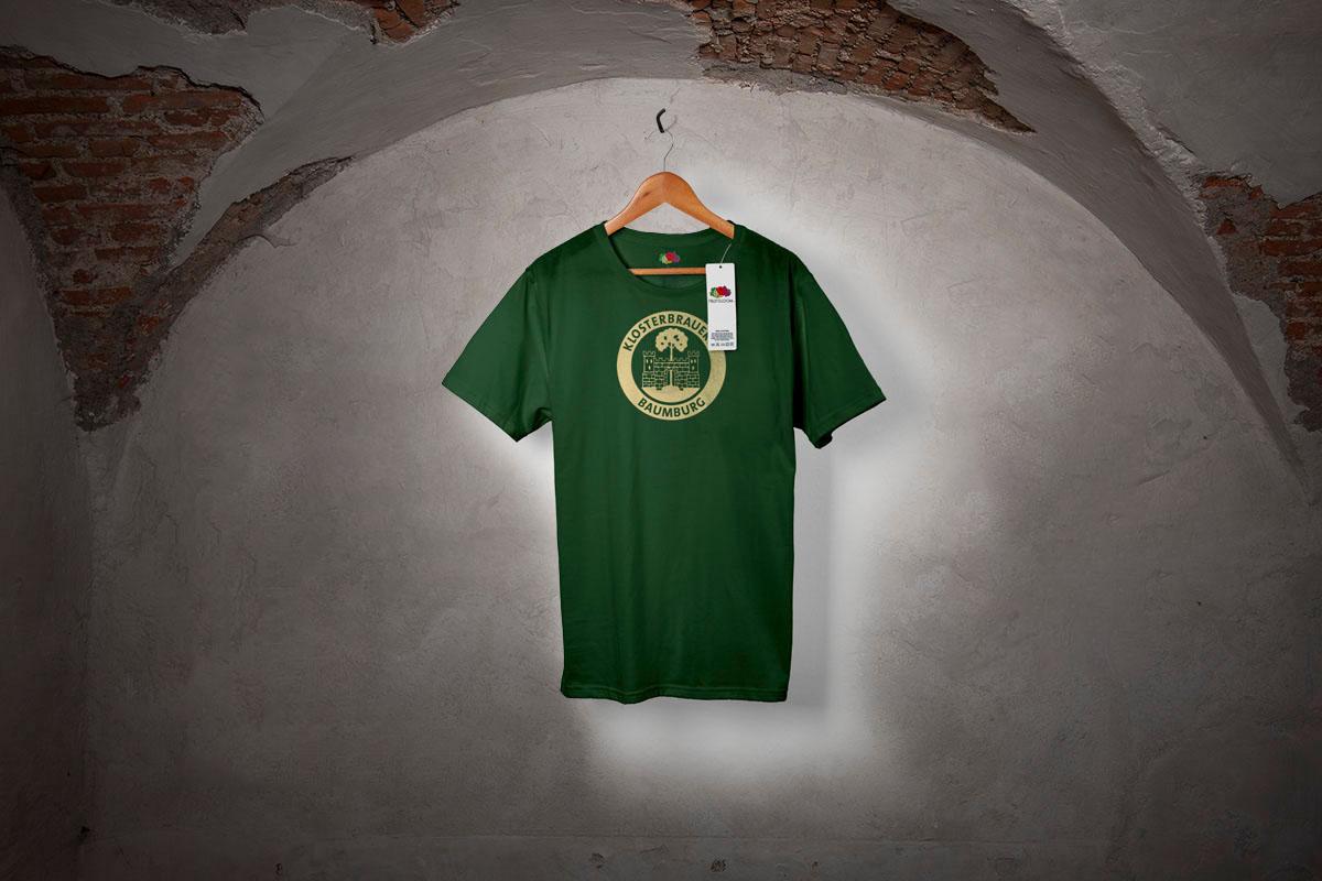 T-Shirt (grün) mit dem Logo der Klosterbrauerei Baumburg