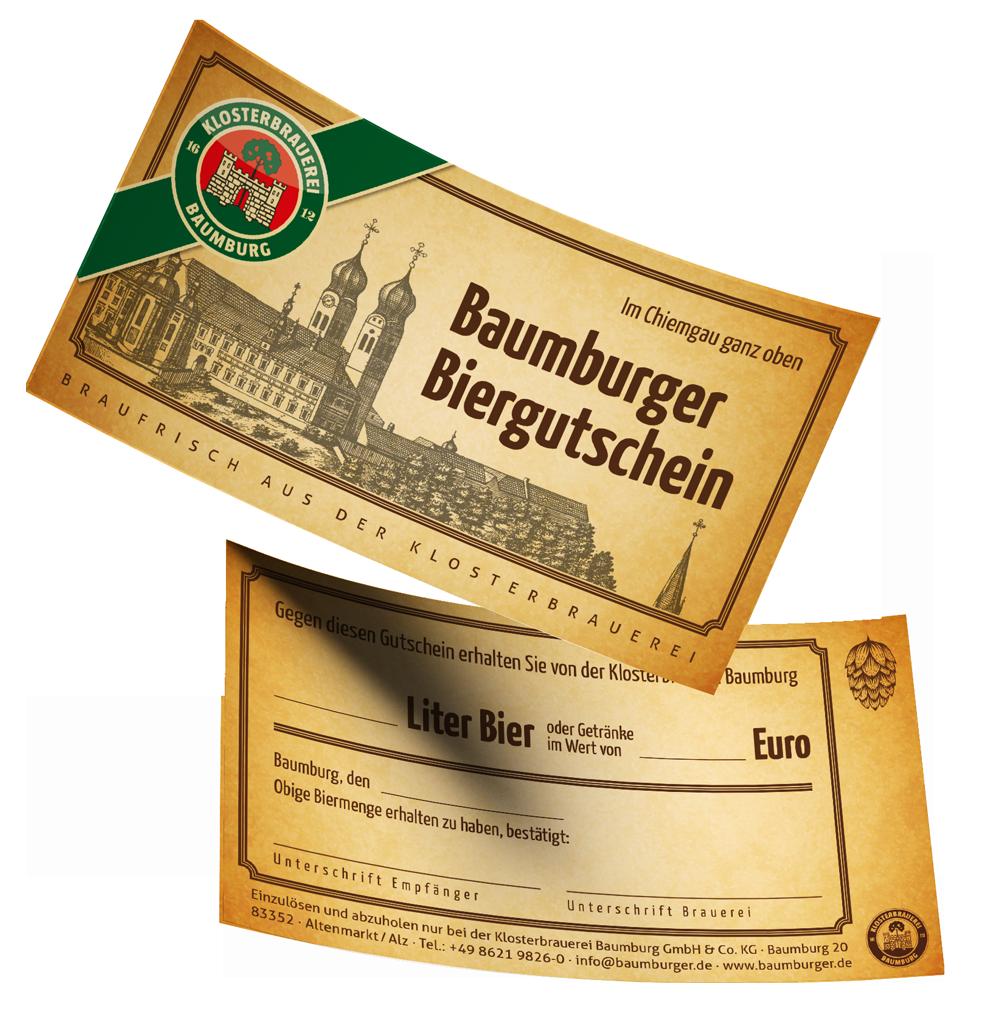 Die Geschenkidee: der Baumburger Biergutschein